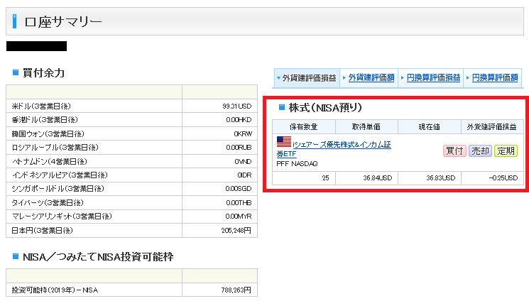 SBI証券_口座サマリー画面