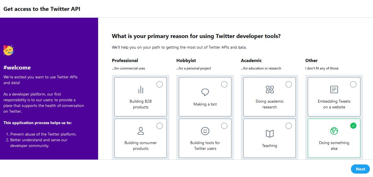 Twitter 開発者ツールの使用目的登録