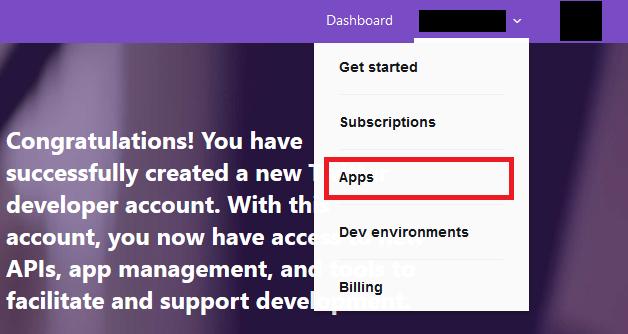 Apps 管理画面へ移行