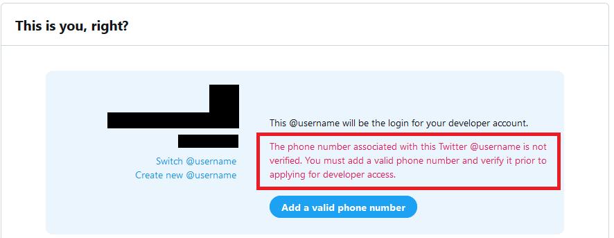 電話番号未登録によるエラー