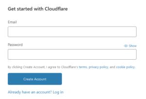 Cloudflare_Eメールアドレスとパスワード入力画面