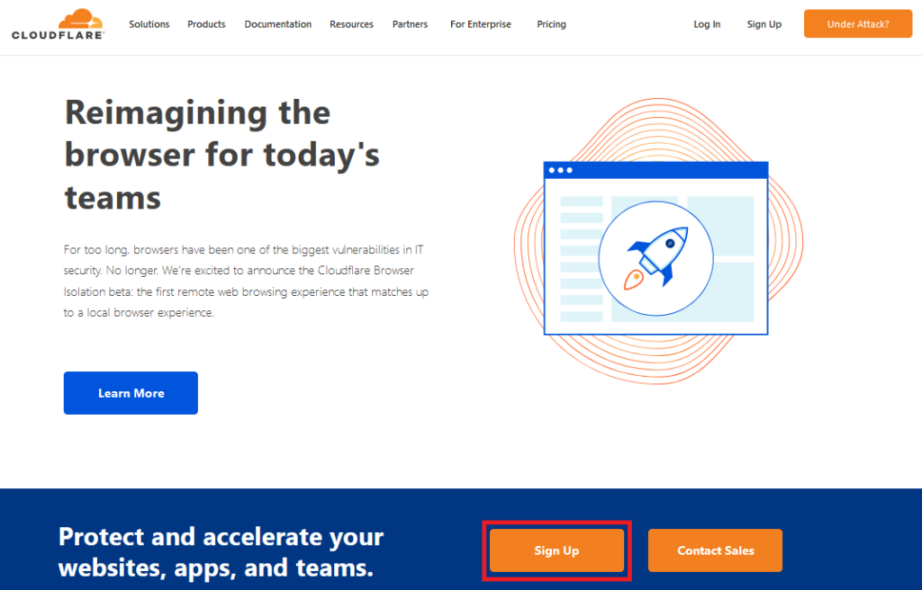 cloudflareのサインアップ画面